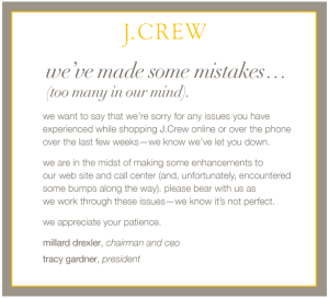 J Crew Sorry Message