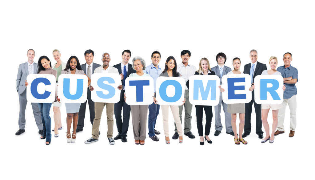 Group of Business People Holding Placards Forming Customer
