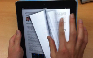 turning pages of iPad