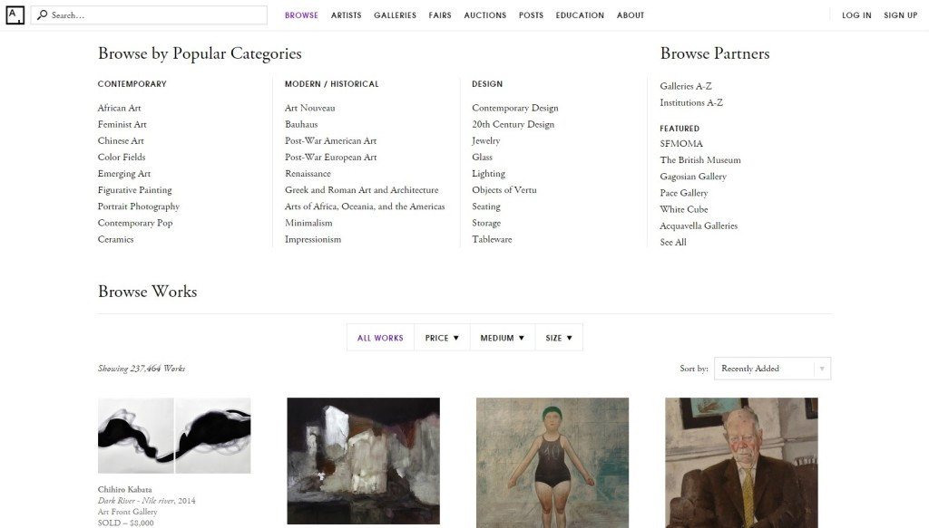 Artsy Browse Page
