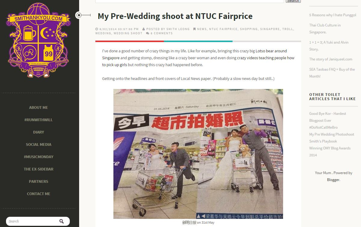 Smith Leong Prewedding Shoot at NTUC Fairprice