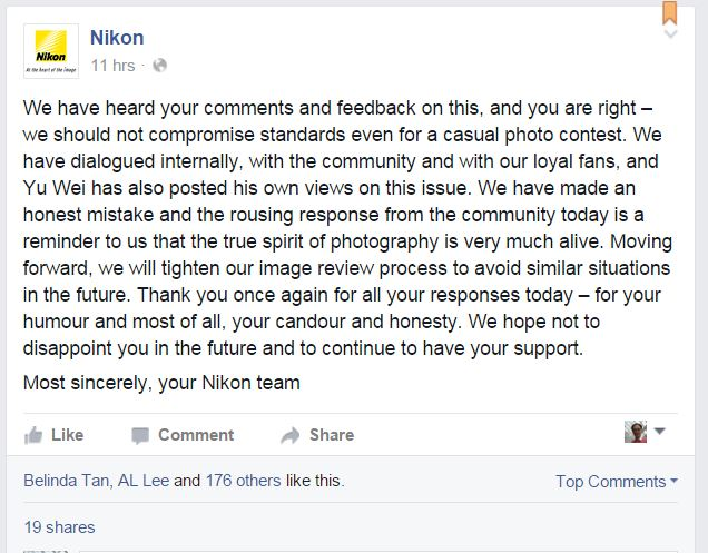 Nikon Apology for Incident