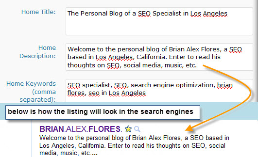 Keywords SEO metadata example