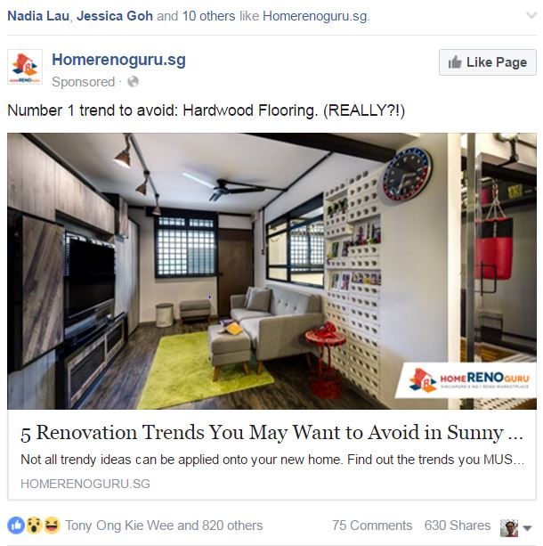 Super targeted Homerenoguru Facebook ad