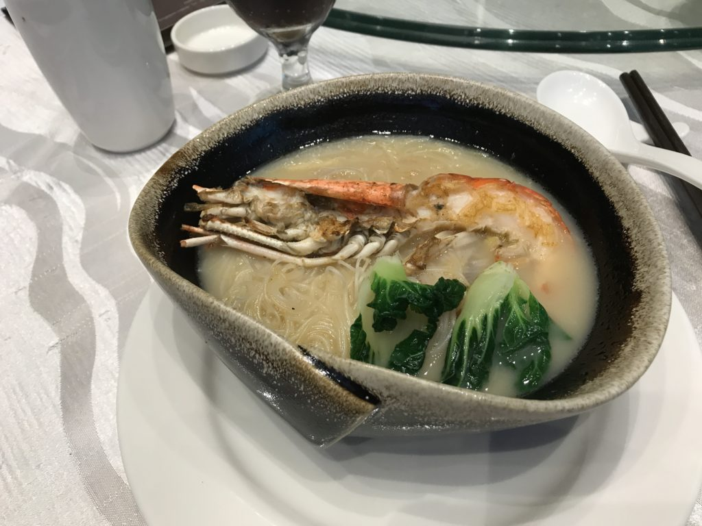 Rice Vermicelli Hot Pot with Baby Abalone Sea-Cucumber King Prawn Crispy Fish