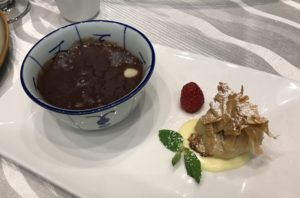 Organic Red Bean Dry Longan Lotus Seed Sago Soup and Baked Banana in Filo Pastry