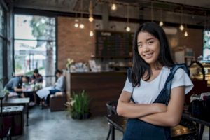 Asian Woman entrepreneur cafe